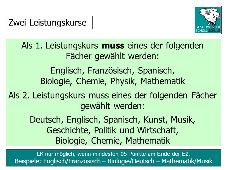 LK nur möglich, wenn mindesten 05 Punkte am Ende der E2. Beispiele: Englisch/Französisch – Biologie/Deutsch – Mathematik/Musik Als 1. Leistungskurs mu