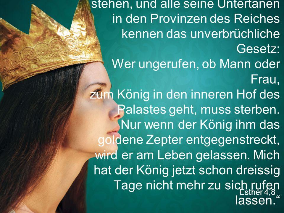 """Esther 4,8 """"Alle, die im Dienst des Königs stehen, und alle seine Untertanen in den Provinzen des Reiches kennen das unverbrüchliche Gesetz: Wer unger"""