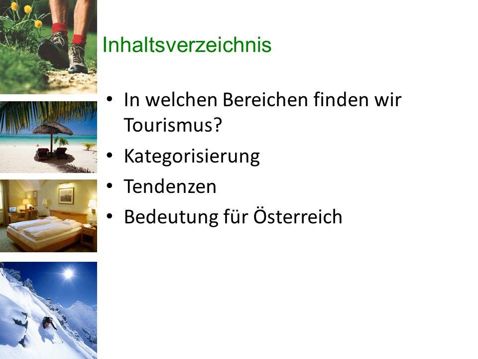 Inhaltsverzeichnis In welchen Bereichen finden wir Tourismus.