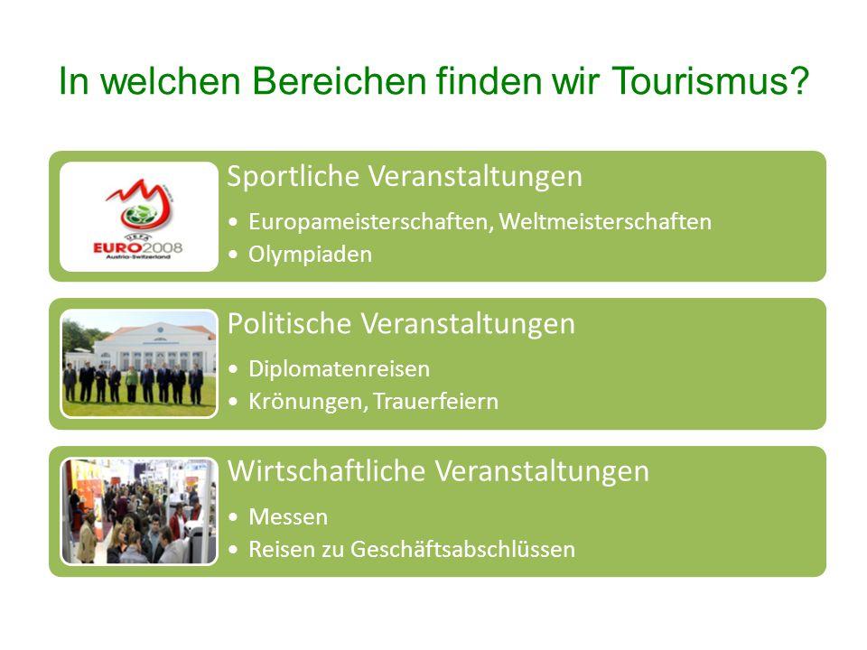 In welchen Bereichen finden wir Tourismus.