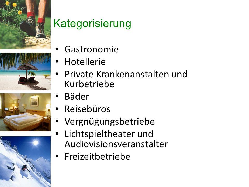 Kategorisierung Gastronomie Hotellerie Private Krankenanstalten und Kurbetriebe Bäder Reisebüros Vergnügungsbetriebe Lichtspieltheater und Audiovisionsveranstalter Freizeitbetriebe
