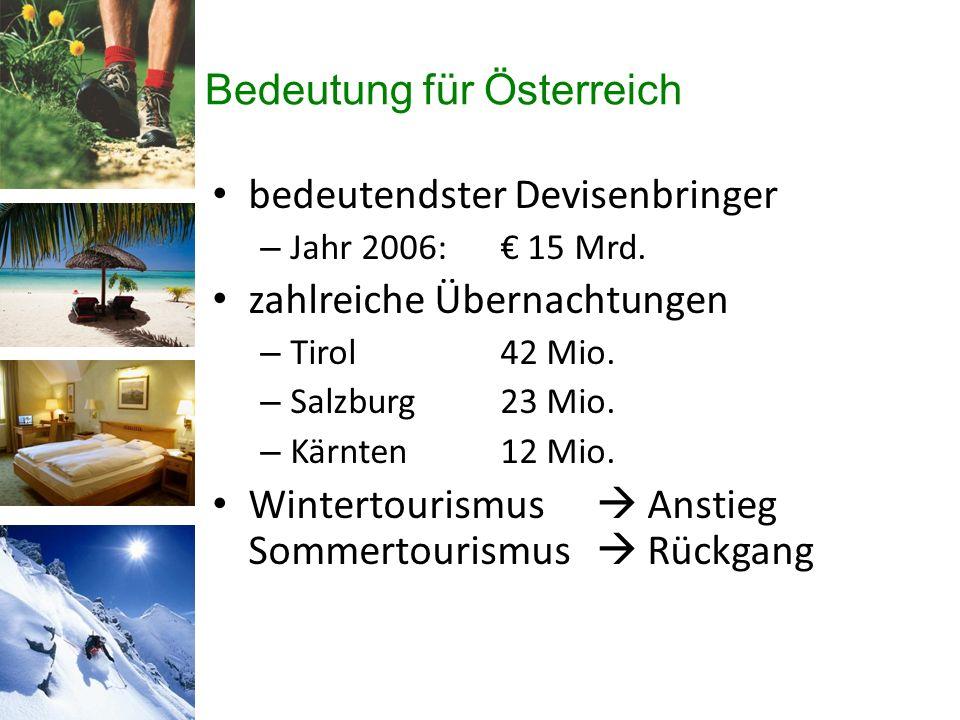 Bedeutung für Österreich bedeutendster Devisenbringer – Jahr 2006: € 15 Mrd.