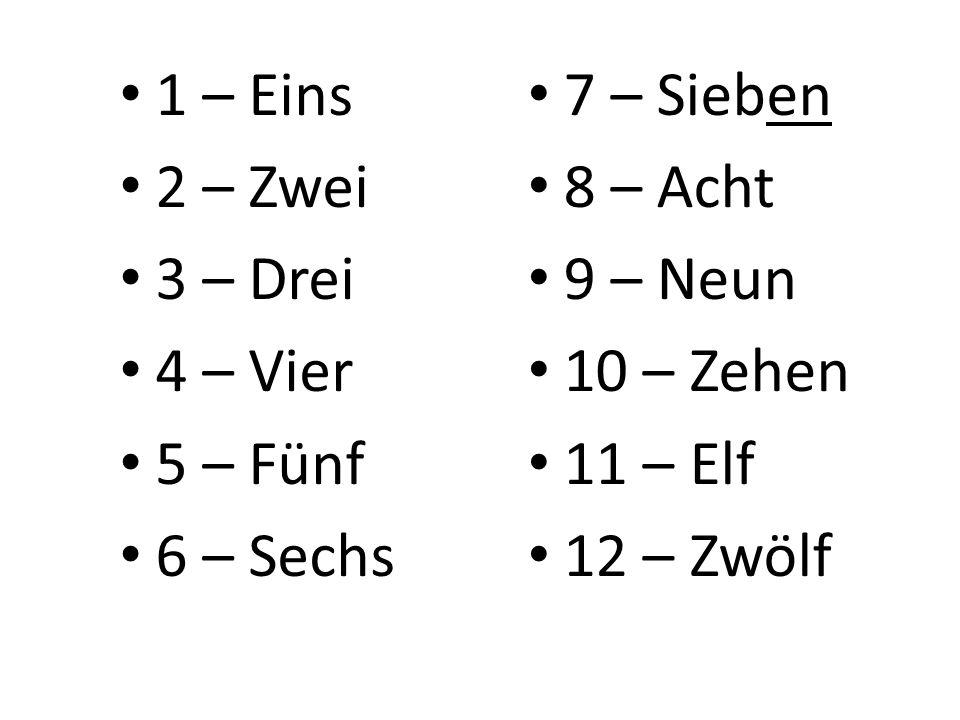 7 – Sieben 8 – Acht 9 – Neun 10 – Zehen 11 – Elf 12 – Zwölf 1 – Eins 2 – Zwei 3 – Drei 4 – Vier 5 – Fünf 6 – Sechs