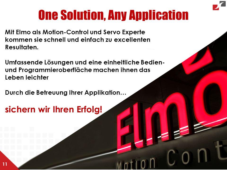 Mit Elmo als Motion-Control und Servo Experte kommen sie schnell und einfach zu excellenten Resultaten. Umfassende Lösungen und eine einheitliche Bedi