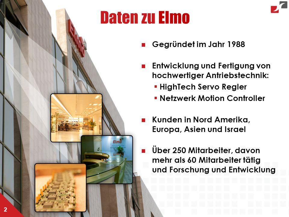 Daten zu Elmo 2 Gegründet im Jahr 1988 Entwicklung und Fertigung von hochwertiger Antriebstechnik:  HighTech Servo Regler  Netzwerk Motion Controller Kunden in Nord Amerika, Europa, Asien und Israel Über 250 Mitarbeiter, davon mehr als 60 Mitarbeiter tätig und Forschung und Entwicklung