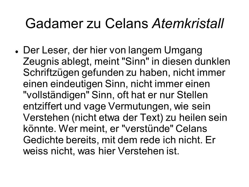 Gadamer zu Celans Atemkristall Der Leser, der hier von langem Umgang Zeugnis ablegt, meint
