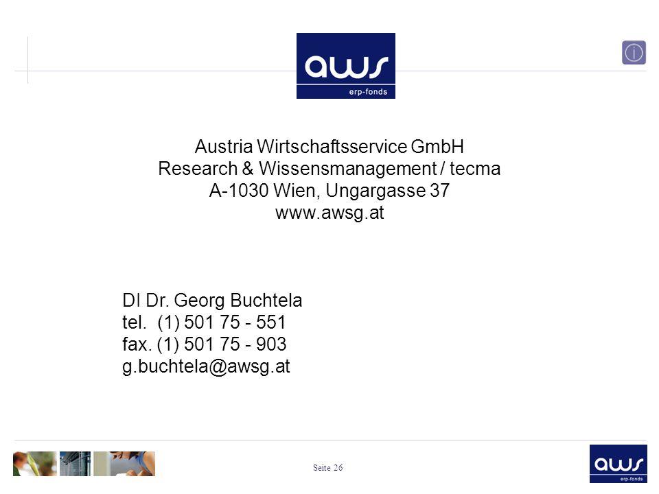 Seite 26 DI Dr. Georg Buchtela tel. (1) 501 75 - 551 fax.