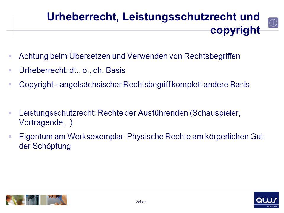 Seite 4 Urheberrecht, Leistungsschutzrecht und copyright  Achtung beim Übersetzen und Verwenden von Rechtsbegriffen  Urheberrecht: dt., ö., ch.