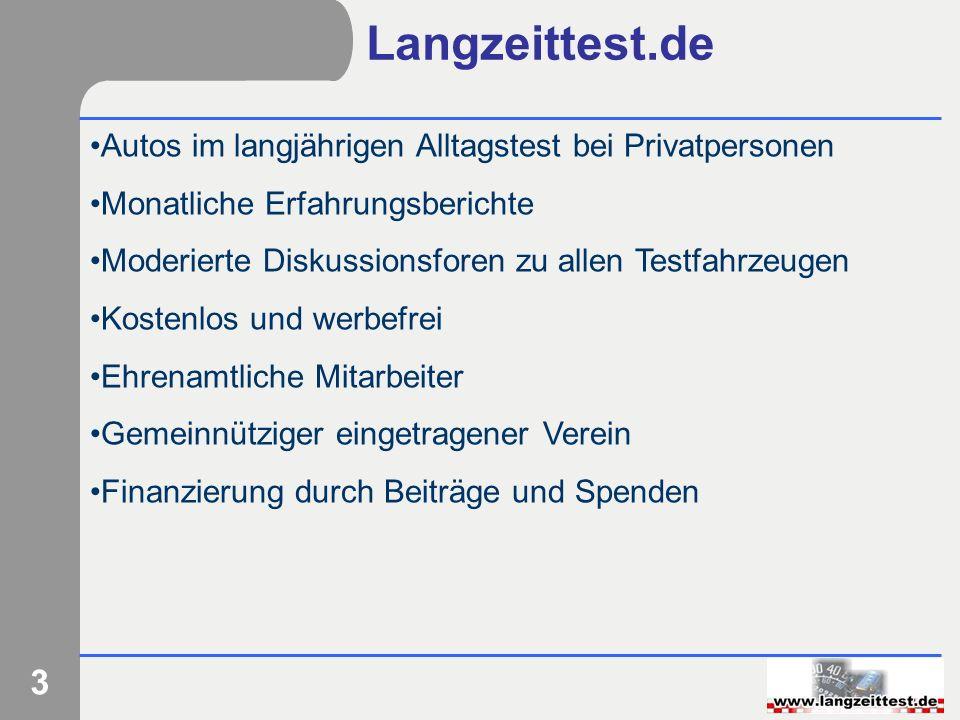 3 Langzeittest.de Autos im langjährigen Alltagstest bei Privatpersonen Monatliche Erfahrungsberichte Moderierte Diskussionsforen zu allen Testfahrzeug