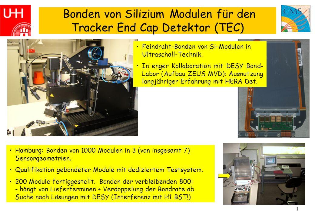 1 Bonden von Silizium Modulen für den Tracker End Cap Detektor (TEC) Hamburg: Bonden von 1000 Modulen in 3 (von insgesamt 7) Sensorgeometrien.