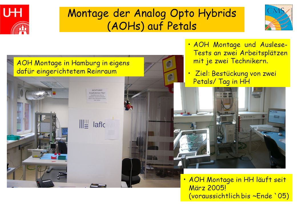 3 Montage der Analog Opto Hybrids (AOHs) auf Petals AOH Montage in Hamburg in eigens dafür eingerichtetem Reinraum AOH Montage und Auslese- Tests an zwei Arbeitsplätzen mit je zwei Technikern.