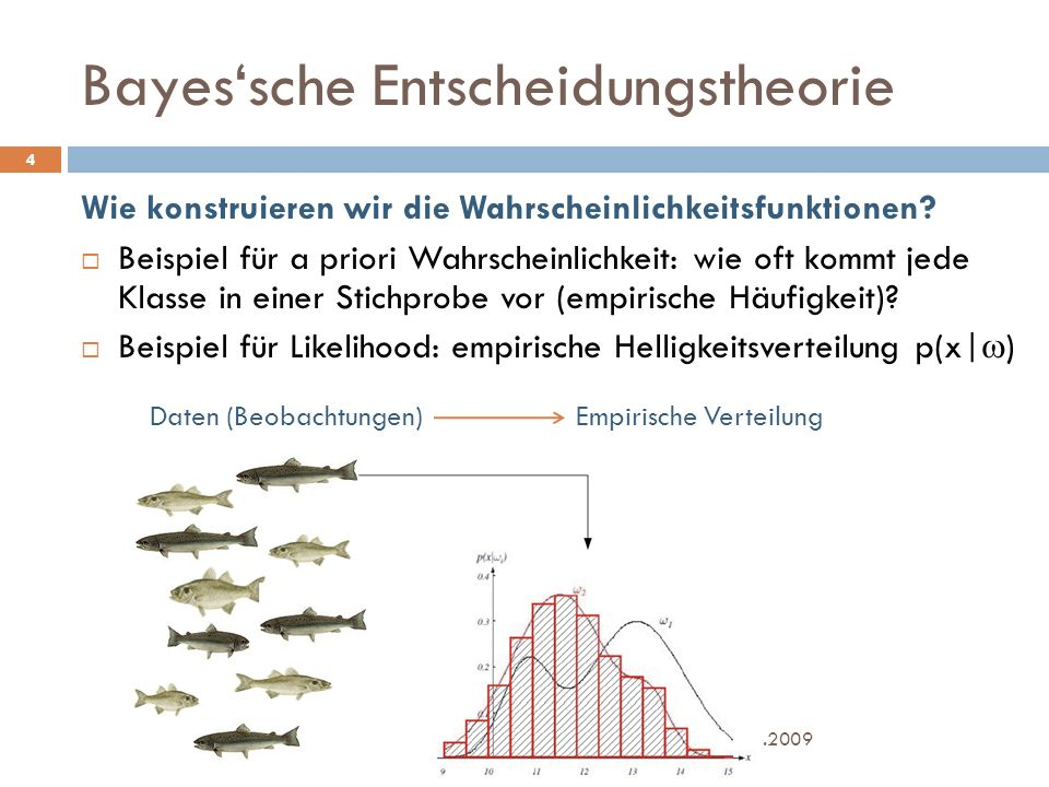 Bayes'sche Entscheidungstheorie 23.11.2009 Geoinformationssysteme - Vorlesung 7 - FH Koblenz 4 Wie konstruieren wir die Wahrscheinlichkeitsfunktionen.