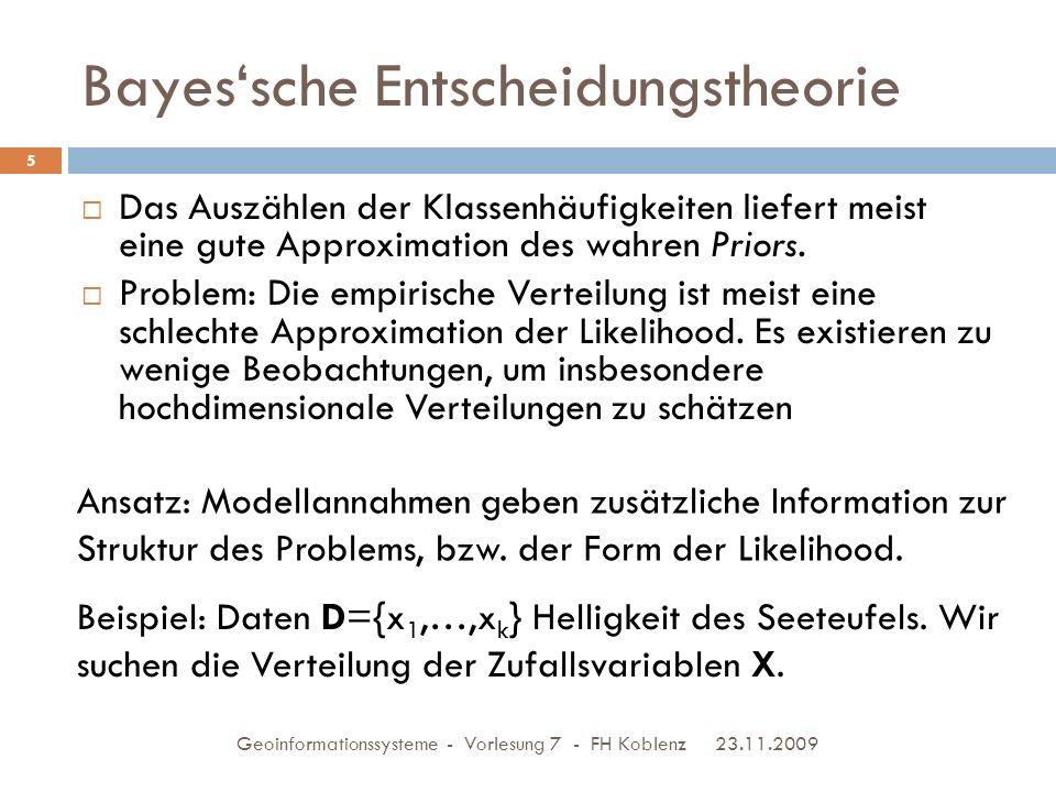 Bayes'sche Entscheidungstheorie 23.11.2009 Geoinformationssysteme - Vorlesung 7 - FH Koblenz 6 Modellannahme: X ist eine normalverteilte Zufallsvariable N( μ, σ 2 ) Parameterschätzung (ML): Mittelwert = 179 Standardabw.