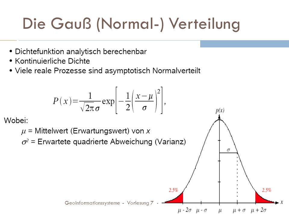 ML Schätzer für Gauß-Verteilung 23.11.2009 Geoinformationssysteme - Vorlesung 7 - FH Koblenz 18