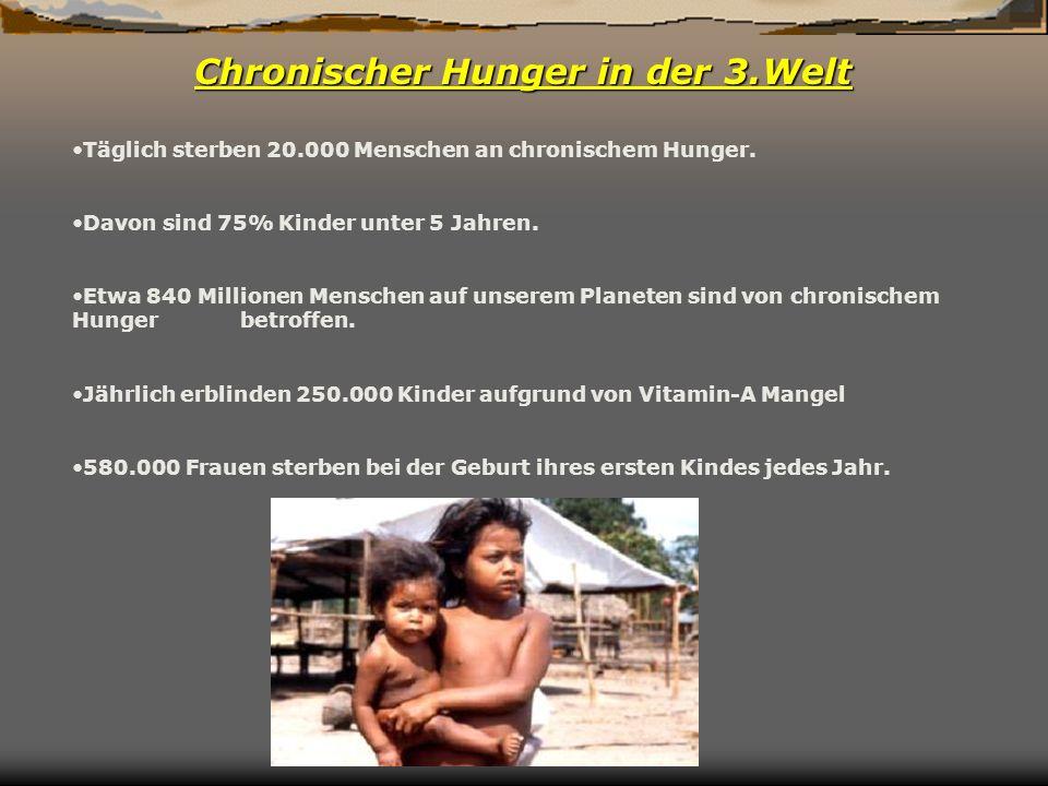 Chronischer Hunger in der 3.Welt Täglich sterben 20.000 Menschen an chronischem Hunger. Davon sind 75% Kinder unter 5 Jahren. Etwa 840 Millionen Mensc