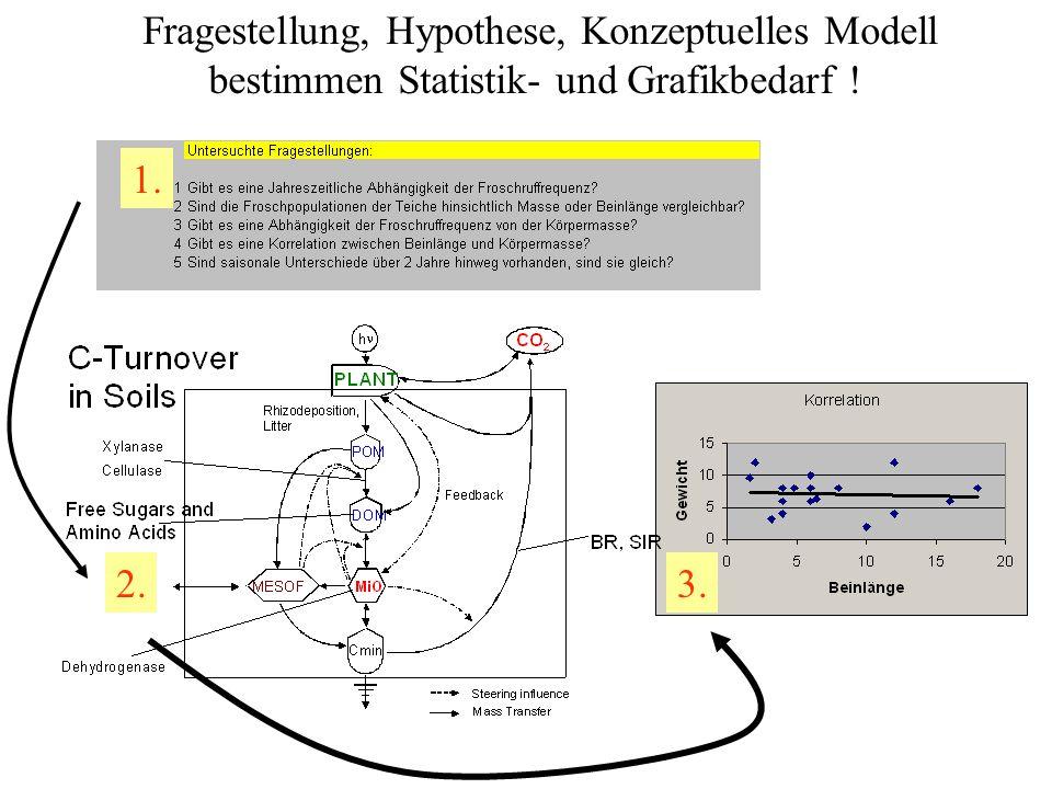 Fragestellung, Hypothese, Konzeptuelles Modell bestimmen Statistik- und Grafikbedarf ! 1. 2.3.