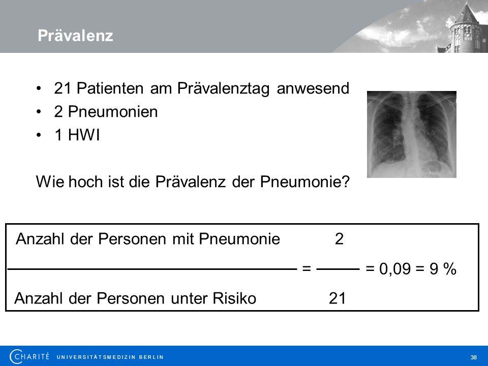 U N I V E R S I T Ä T S M E D I Z I N B E R L I N 38 21 Patienten am Prävalenztag anwesend 2 Pneumonien 1 HWI Wie hoch ist die Prävalenz der Pneumonie.