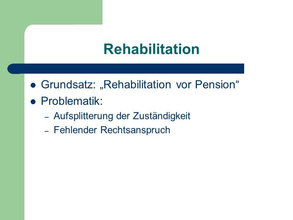 """Rehabilitation Grundsatz: """"Rehabilitation vor Pension"""" Problematik: – Aufsplitterung der Zuständigkeit – Fehlender Rechtsanspruch"""