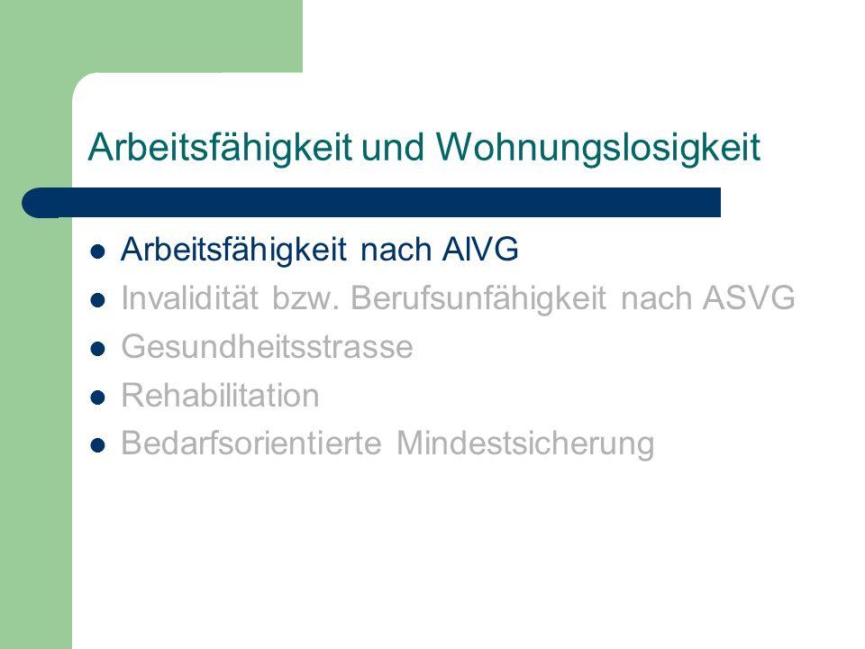 Arbeitsfähigkeit und Wohnungslosigkeit Arbeitsfähigkeit nach AlVG Invalidität bzw. Berufsunfähigkeit nach ASVG Gesundheitsstrasse Rehabilitation Bedar