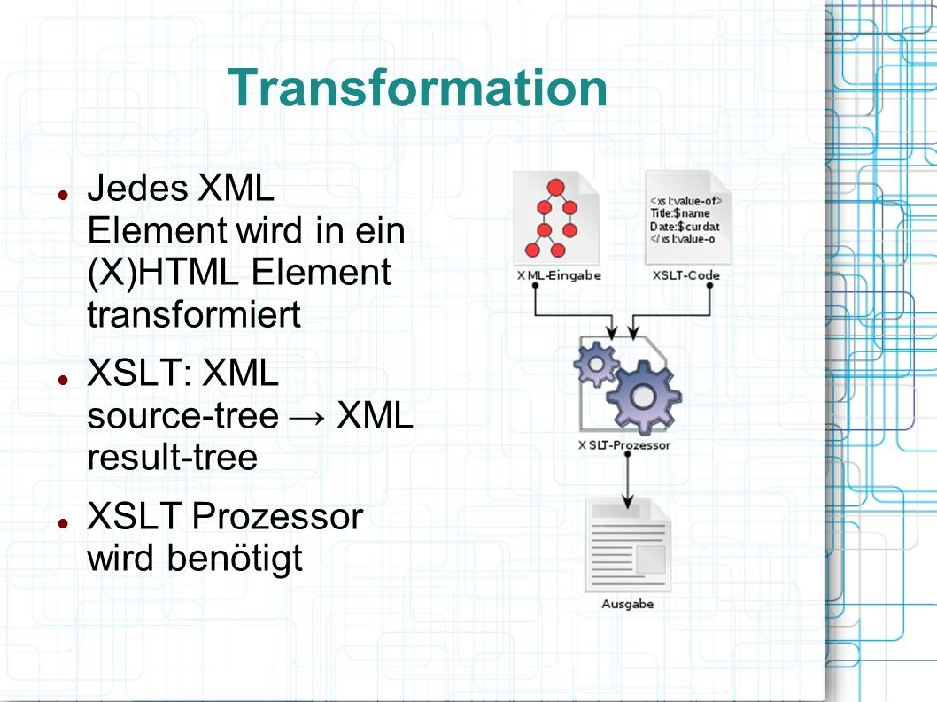 Transformation Jedes XML Element wird in ein (X)HTML Element transformiert XSLT: XML source-tree → XML result-tree XSLT Prozessor wird benötigt