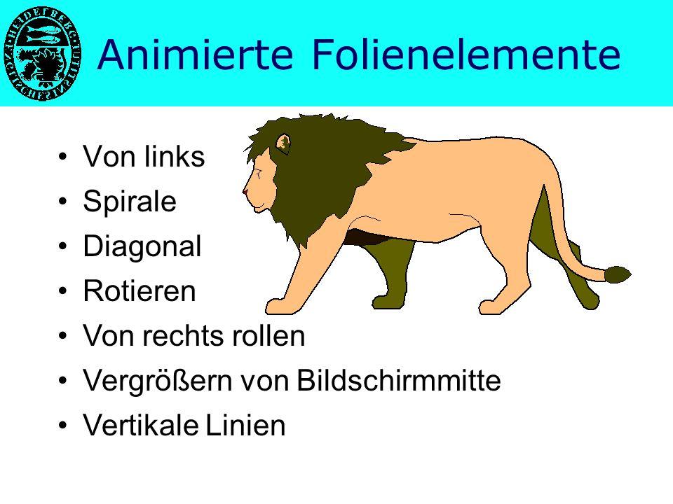 Einheitliche Gestaltung –Schriftbild –Hintergrund –Logos Möglichkeiten der Technik Animierte Folienübergänge Darstellung auf mehreren Computern