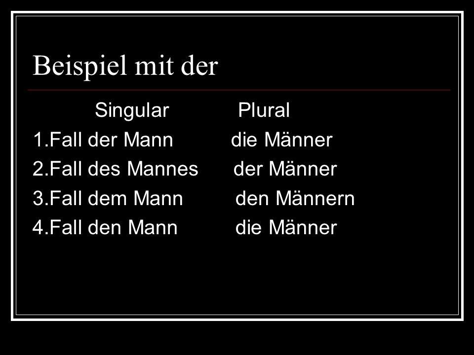 Beispiel mit der Singular Plural 1.Fall der Mann die Männer 2.Fall des Mannes der Männer 3.Fall dem Mann den Männern 4.Fall den Mann die Männer
