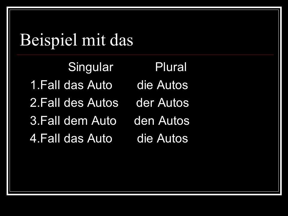Beispiel mit das Singular Plural 1.Fall das Auto die Autos 2.Fall des Autos der Autos 3.Fall dem Auto den Autos 4.Fall das Auto die Autos