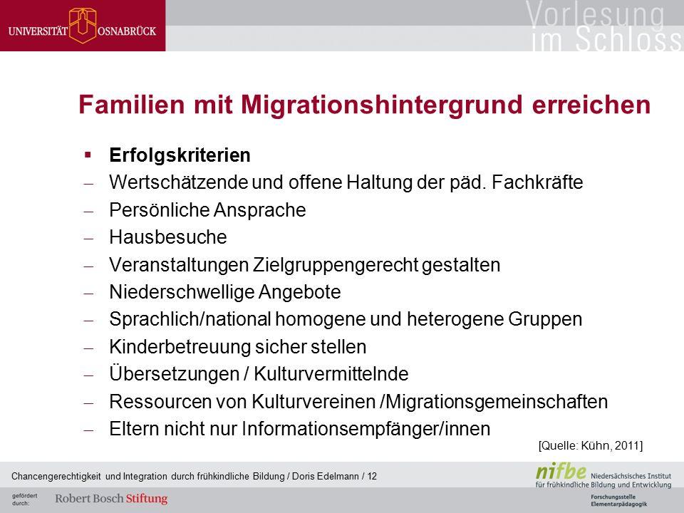 Familien mit Migrationshintergrund erreichen  Erfolgskriterien  Wertschätzende und offene Haltung der päd. Fachkräfte  Persönliche Ansprache  Haus