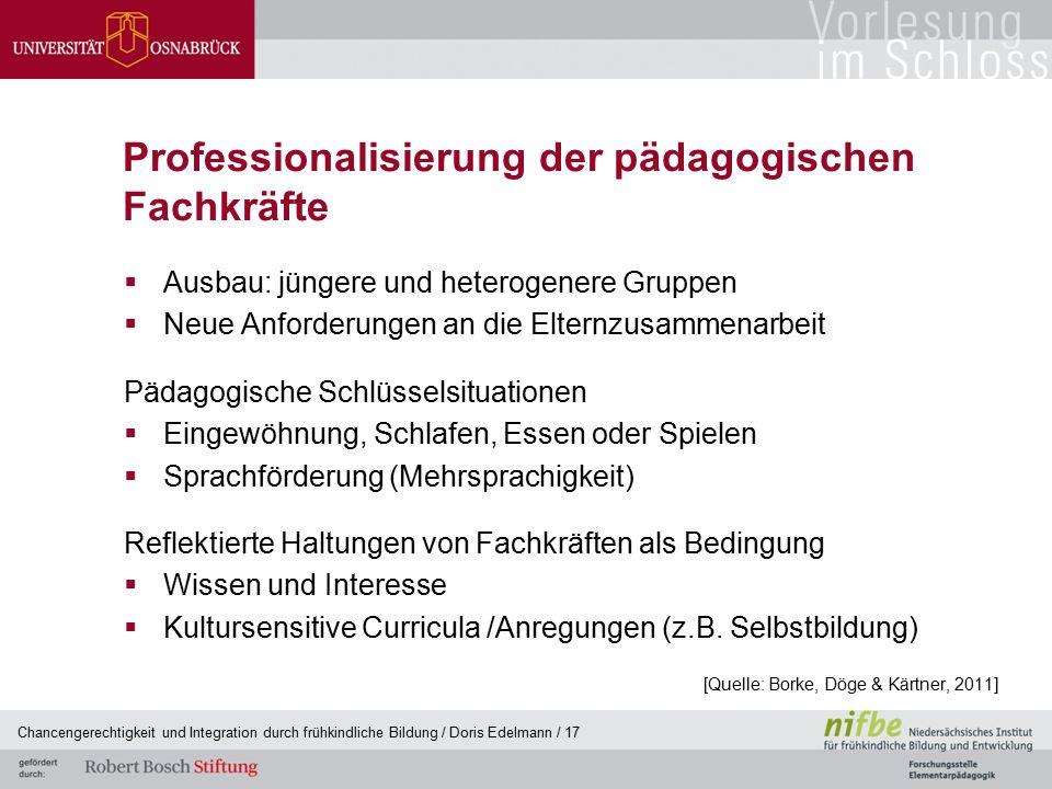 Professionalisierung der pädagogischen Fachkräfte  Ausbau: jüngere und heterogenere Gruppen  Neue Anforderungen an die Elternzusammenarbeit Pädagogi