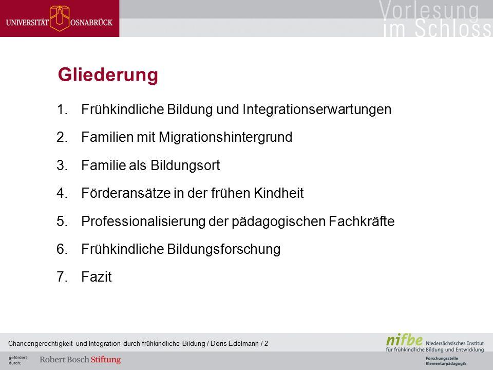 Chancengerechtigkeit und Integration durch frühkindliche Bildung / Doris Edelmann / 2 Gliederung 1.Frühkindliche Bildung und Integrationserwartungen 2
