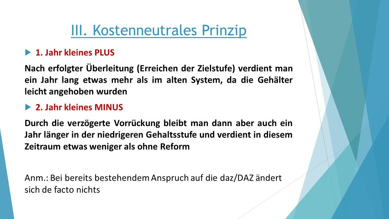 III. Kostenneutrales Prinzip  1. Jahr kleines PLUS Nach erfolgter Überleitung (Erreichen der Zielstufe) verdient man ein Jahr lang etwas mehr als im
