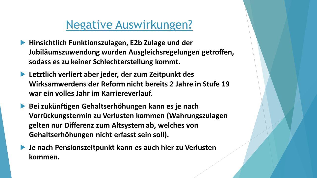 Negative Auswirkungen?  Hinsichtlich Funktionszulagen, E2b Zulage und der Jubiläumszuwendung wurden Ausgleichsregelungen getroffen, sodass es zu kein