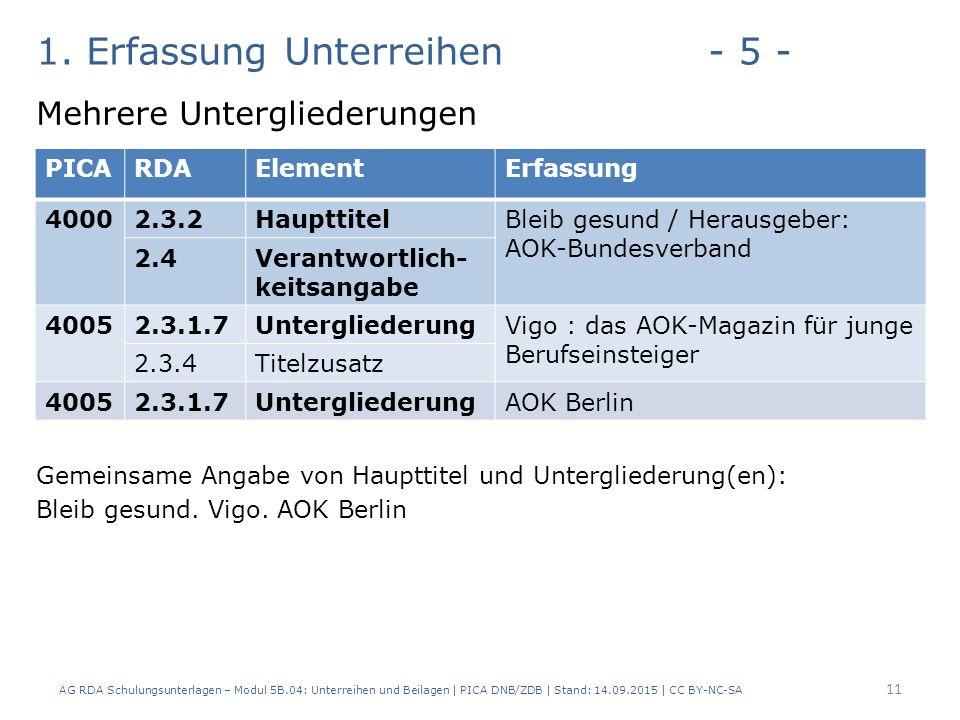 1. Erfassung Unterreihen- 5 - Mehrere Untergliederungen Gemeinsame Angabe von Haupttitel und Untergliederung(en): Bleib gesund. Vigo. AOK Berlin AG RD