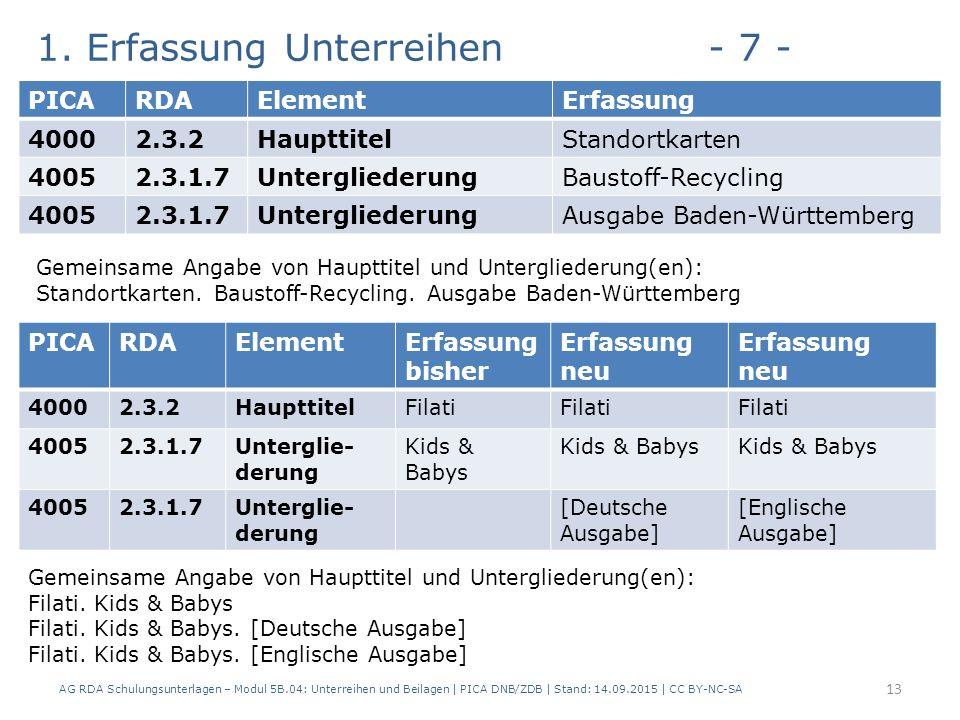 1. Erfassung Unterreihen- 7 - AG RDA Schulungsunterlagen – Modul 5B.04: Unterreihen und Beilagen | PICA DNB/ZDB | Stand: 14.09.2015 | CC BY-NC-SA 13 P