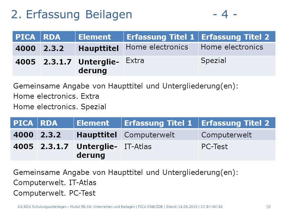 2. Erfassung Beilagen- 4 - Gemeinsame Angabe von Haupttitel und Untergliederung(en): Home electronics. Extra Home electronics. Spezial Gemeinsame Anga