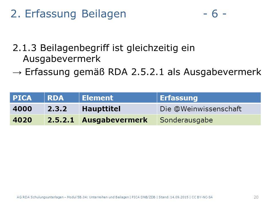 2. Erfassung Beilagen- 6 - 2.1.3 Beilagenbegriff ist gleichzeitig ein Ausgabevermerk → Erfassung gemäß RDA 2.5.2.1 als Ausgabevermerk AG RDA Schulungs