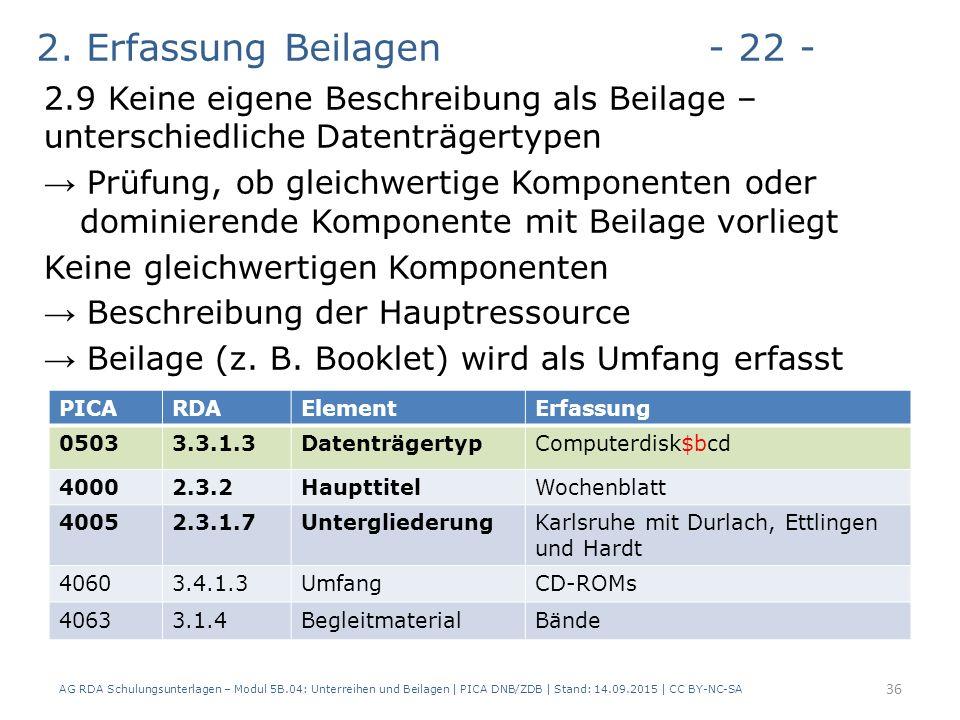 2. Erfassung Beilagen- 22 - 2.9 Keine eigene Beschreibung als Beilage – unterschiedliche Datenträgertypen → Prüfung, ob gleichwertige Komponenten oder