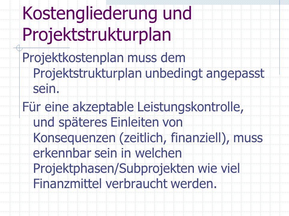 Kostengliederung und Projektstrukturplan Projektkostenplan muss dem Projektstrukturplan unbedingt angepasst sein. Für eine akzeptable Leistungskontrol