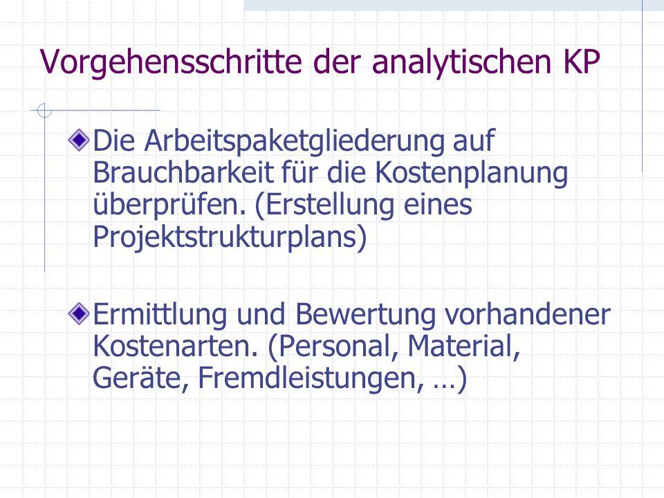 Vorgehensschritte der analytischen KP Die Arbeitspaketgliederung auf Brauchbarkeit für die Kostenplanung überprüfen. (Erstellung eines Projektstruktur
