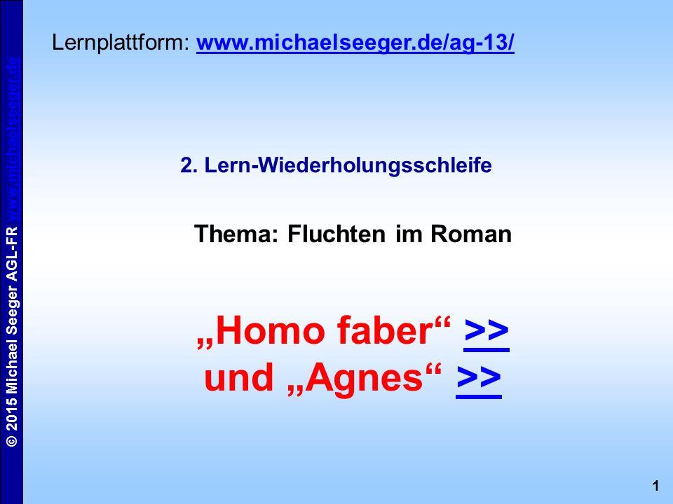 "1 © 2015 Michael Seeger AGL-FR www.michaelseeger.dewww.michaelseeger.de 2. Lern-Wiederholungsschleife Thema: Fluchten im Roman ""Homo faber"" >>>> und """