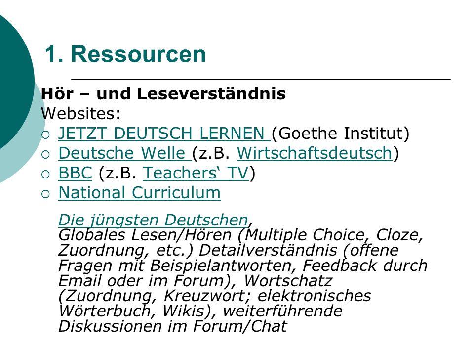1. Ressourcen Hör – und Leseverständnis Websites:  JETZT DEUTSCH LERNEN (Goethe Institut) JETZT DEUTSCH LERNEN  Deutsche Welle (z.B. Wirtschaftsdeut