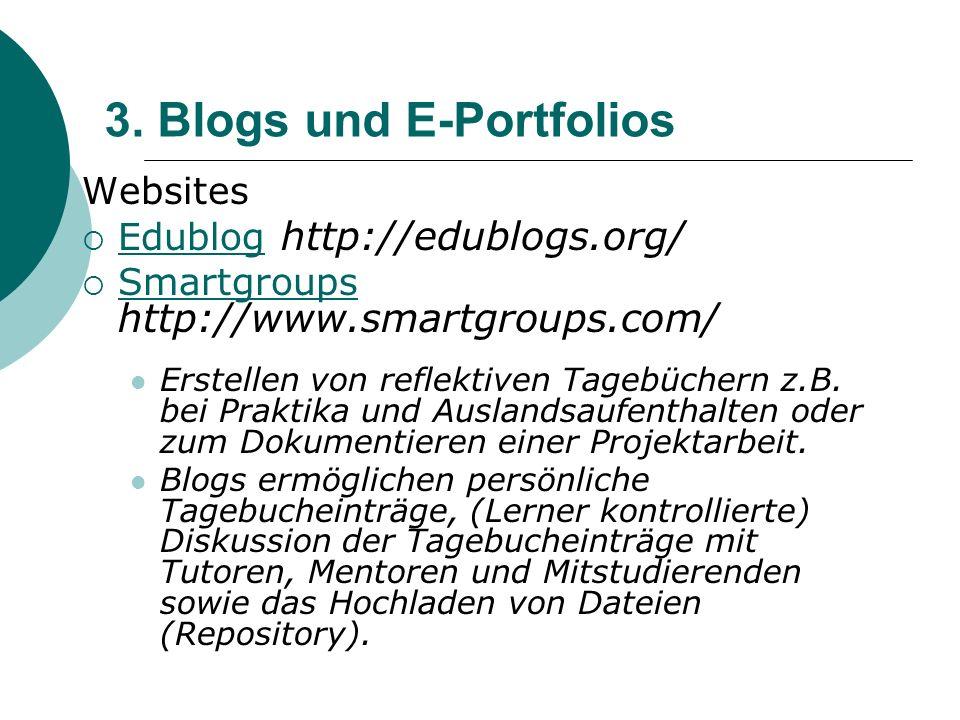 3. Blogs und E-Portfolios Websites  Edublog http://edublogs.org/ Edublog  Smartgroups http://www.smartgroups.com/ Smartgroups Erstellen von reflekti
