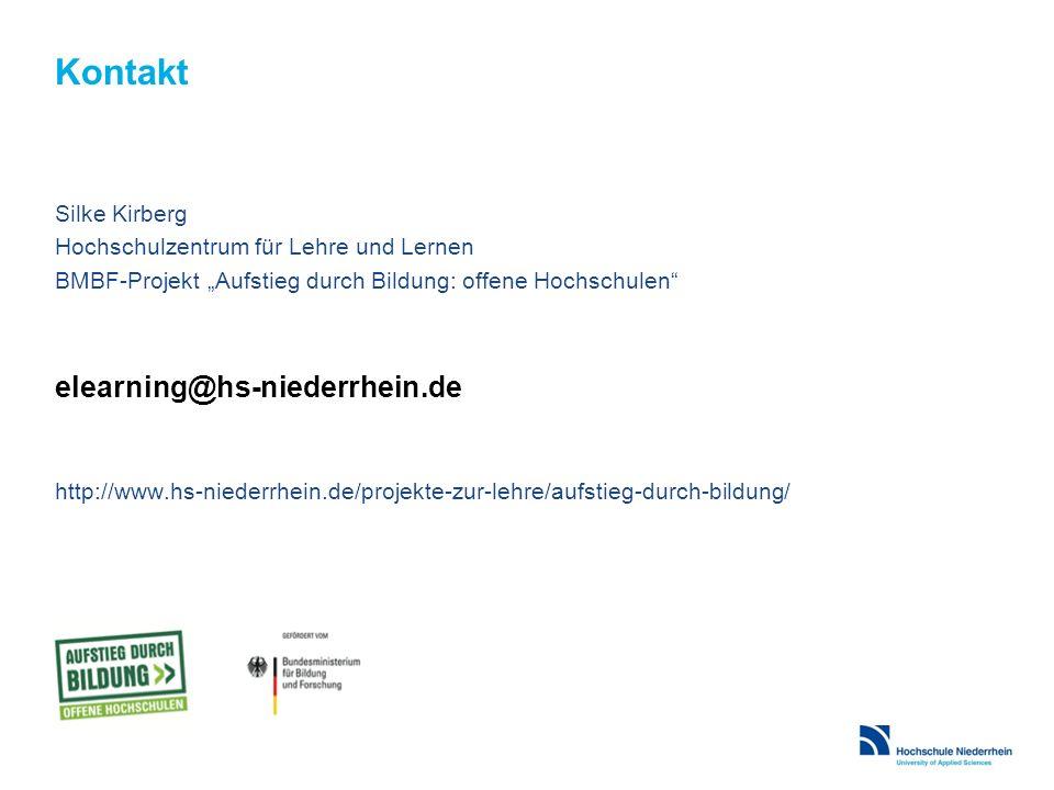 """Kontakt Silke Kirberg Hochschulzentrum für Lehre und Lernen BMBF-Projekt """"Aufstieg durch Bildung: offene Hochschulen elearning@hs-niederrhein.de http://www.hs-niederrhein.de/projekte-zur-lehre/aufstieg-durch-bildung/"""