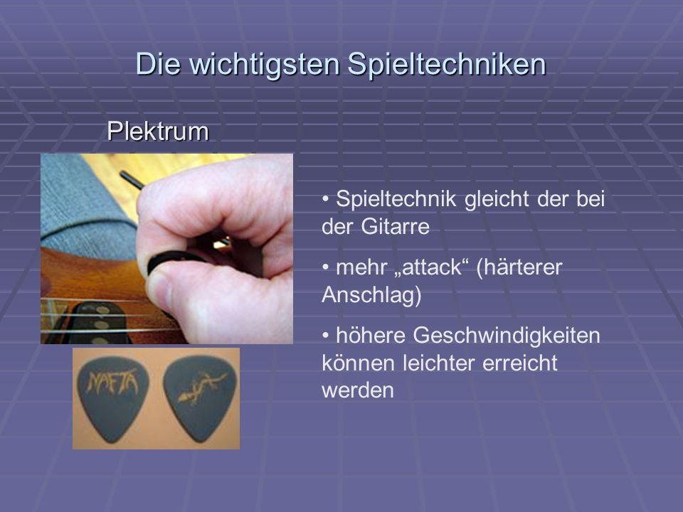 """Die wichtigsten Spieltechniken Plektrum Spieltechnik gleicht der bei der Gitarre mehr """"attack (härterer Anschlag) höhere Geschwindigkeiten können leichter erreicht werden"""