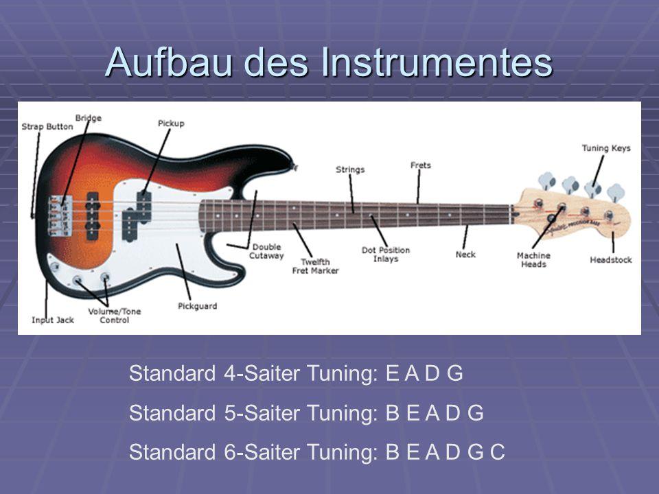 Aufbau des Instrumentes Standard 4-Saiter Tuning: E A D G Standard 5-Saiter Tuning: B E A D G Standard 6-Saiter Tuning: B E A D G C