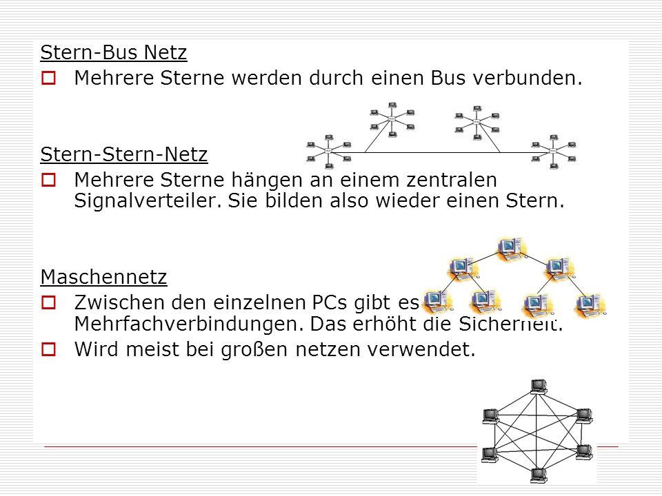 Stern-Bus Netz  Mehrere Sterne werden durch einen Bus verbunden. Stern-Stern-Netz  Mehrere Sterne hängen an einem zentralen Signalverteiler. Sie bil