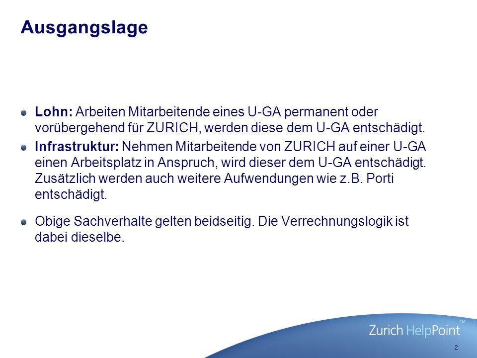 2 Lohn: Arbeiten Mitarbeitende eines U-GA permanent oder vorübergehend für ZURICH, werden diese dem U-GA entschädigt.