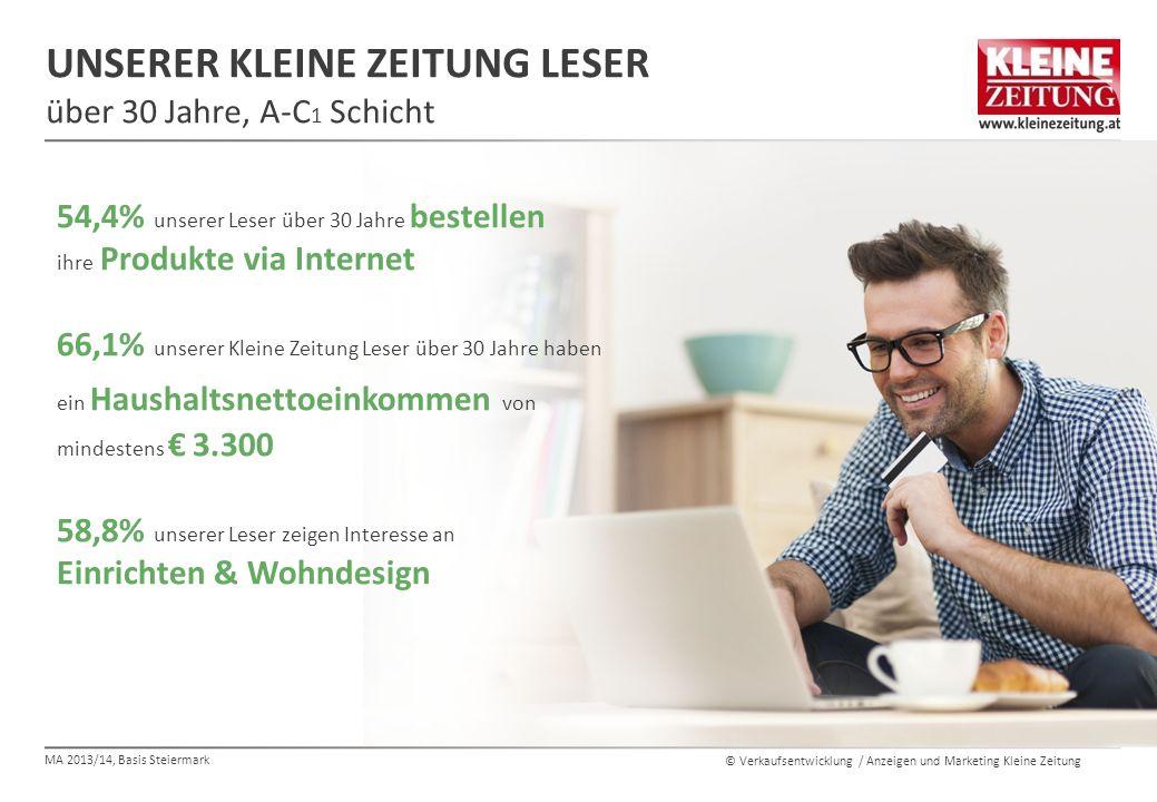 © Verkaufsentwicklung / Anzeigen und Marketing Kleine Zeitung UNSERER KLEINE ZEITUNG LESER über 30 Jahre, A-C 1 Schicht 54,4% unserer Leser über 30 Ja