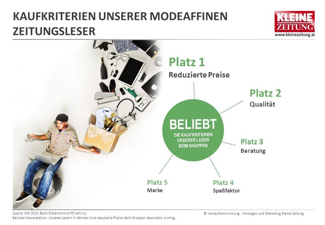 © Verkaufsentwicklung / Anzeigen und Marketing Kleine Zeitung KAUFKRITERIEN UNSERER MODEAFFINEN ZEITUNGSLESER Quelle: MA 2013, Basis Steiermark (triff