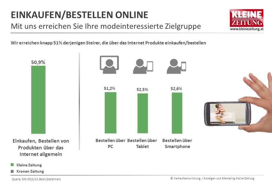 © Verkaufsentwicklung / Anzeigen und Marketing Kleine Zeitung Quelle: MA 2013/14, Basis Steiermark EINKAUFEN/BESTELLEN ONLINE Mit uns erreichen Sie Ih